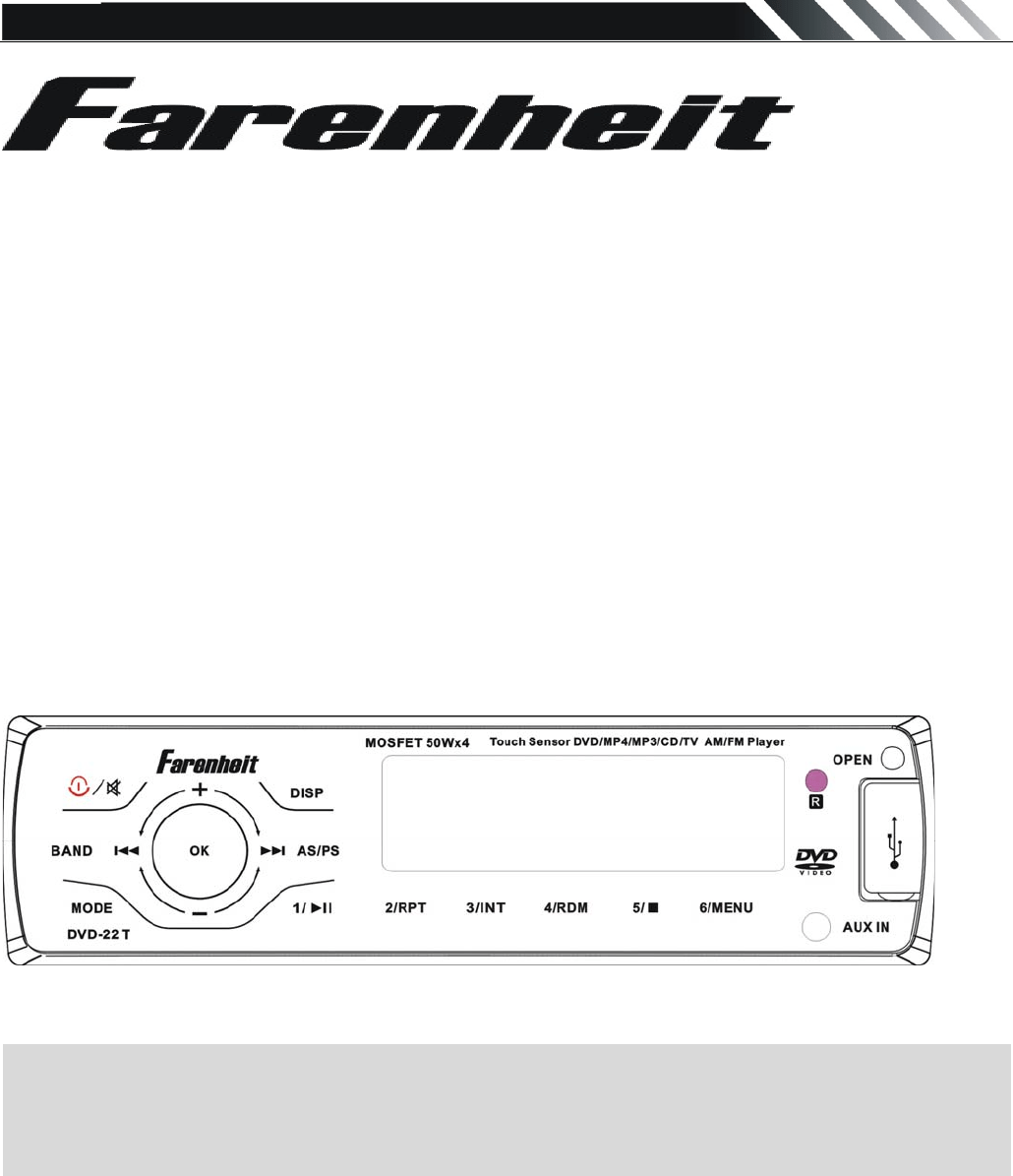 Farenheit Technologies DVD Player DVD-22T User Guide