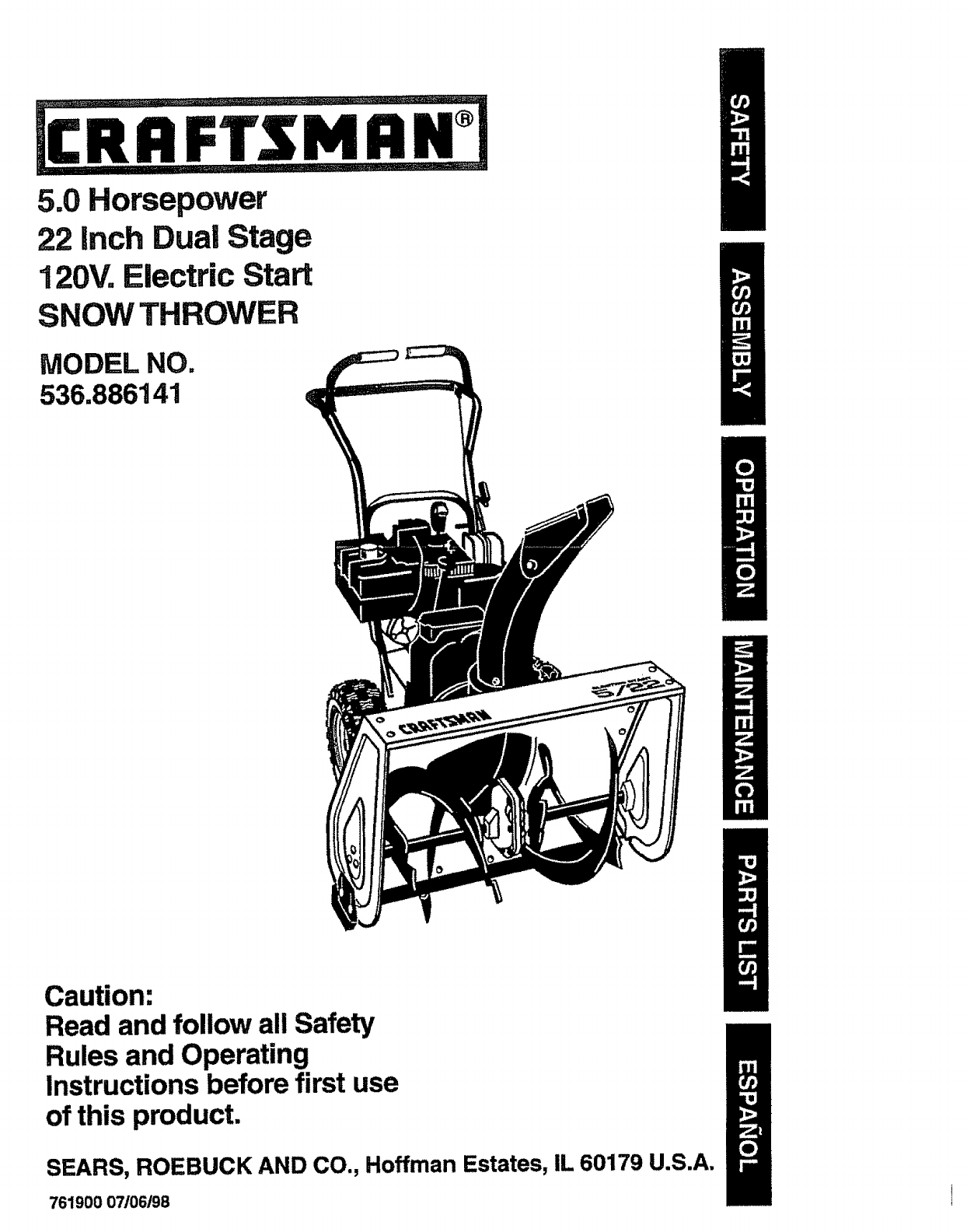 Craftsman Snow Blower 536.886141 User Guide