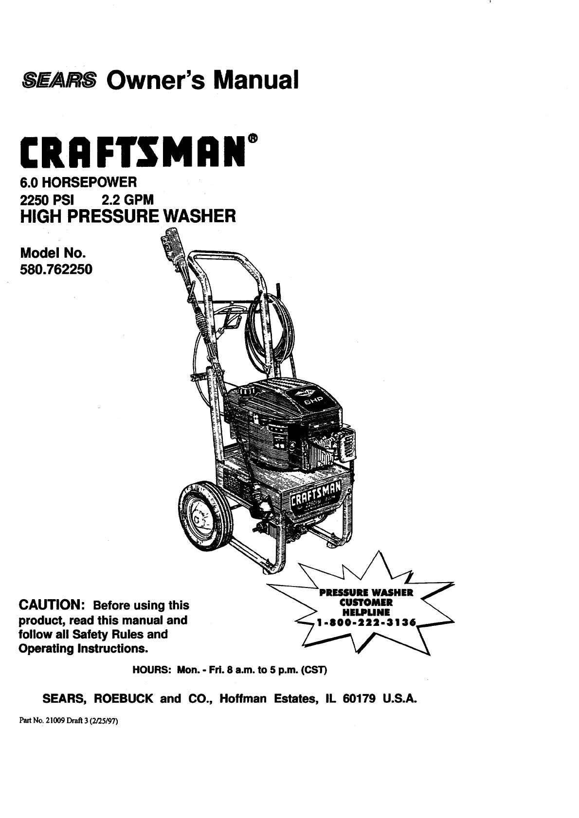 Craftsman Pressure Washer 580.76225 User Guide