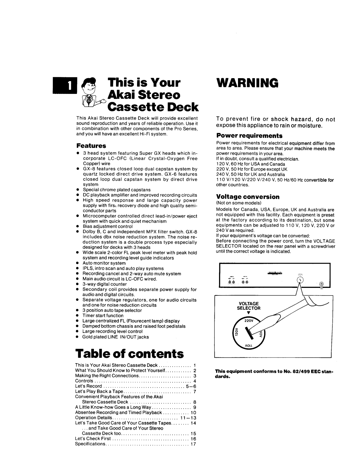 Page 2 of Akai Cassette Player GX-6 User Guide