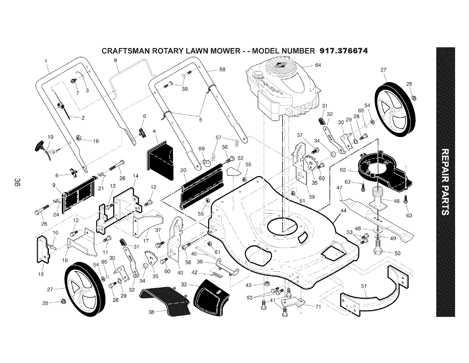 Page 36 of Craftsman Lawn Mower 917.376674 User Guide