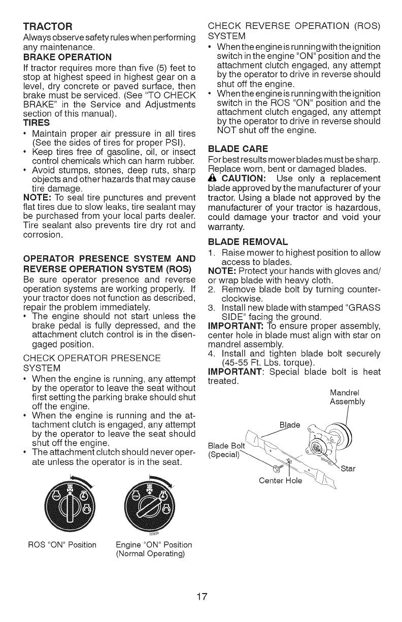 Page 17 of Craftsman Lawn Mower YT 4000 User Guide