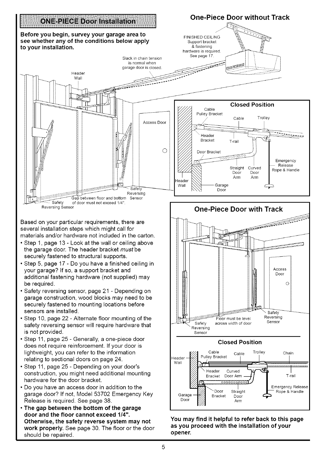 Page 5 of Sears Garage Door Opener 139.53636SRT User Guide