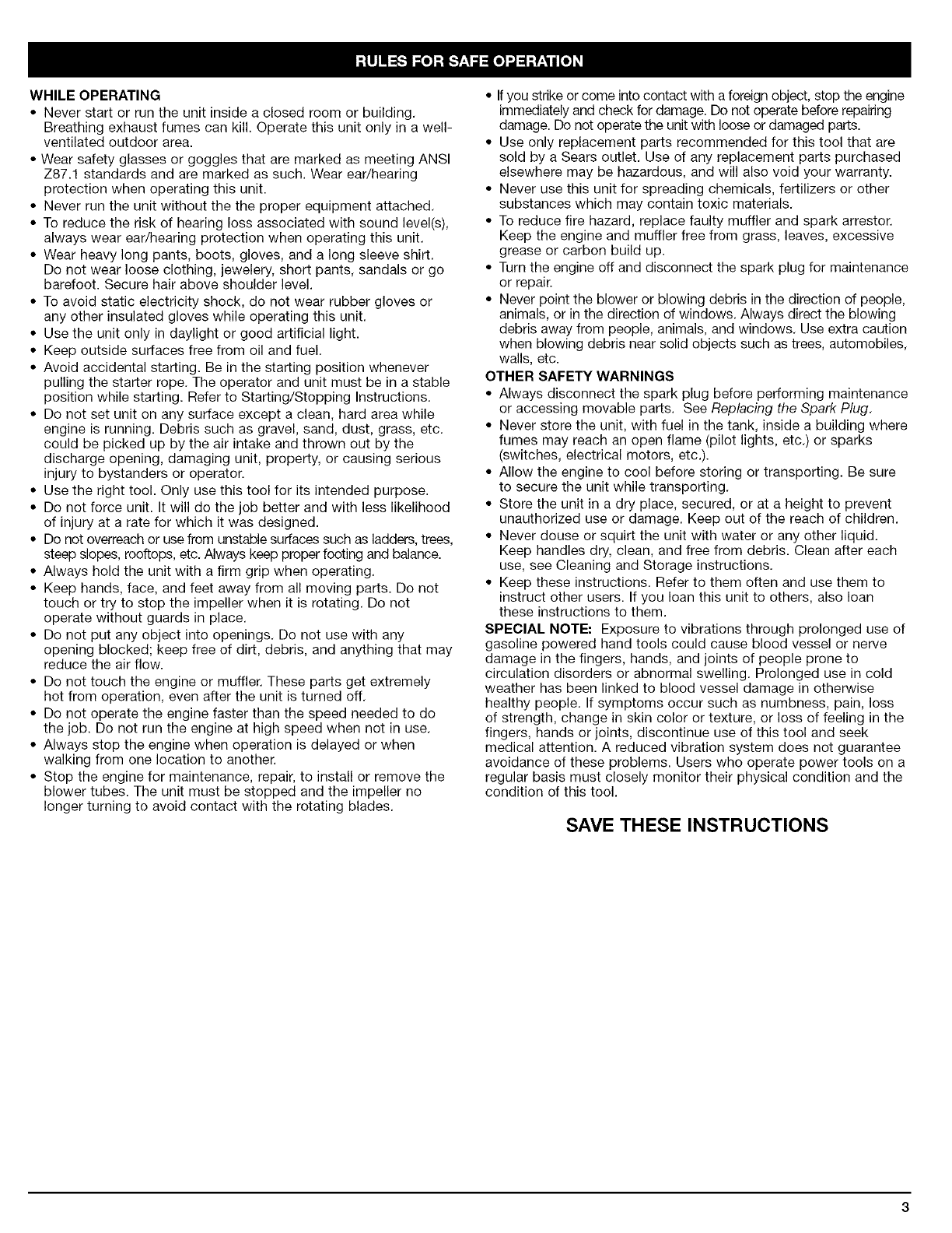 Page 3 of Craftsman Blower 316.79479 User Guide