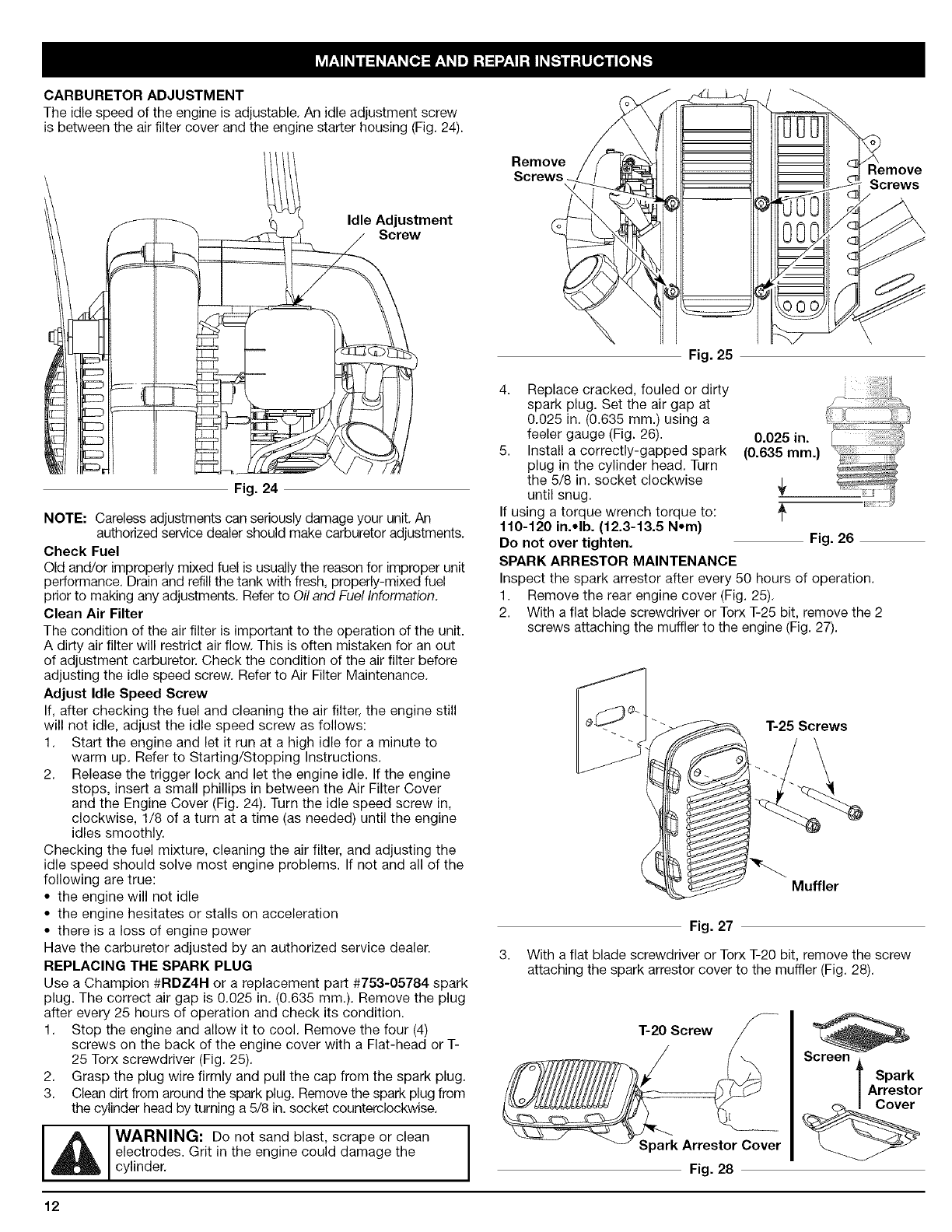 Page 12 of Craftsman Blower 316.79479 User Guide
