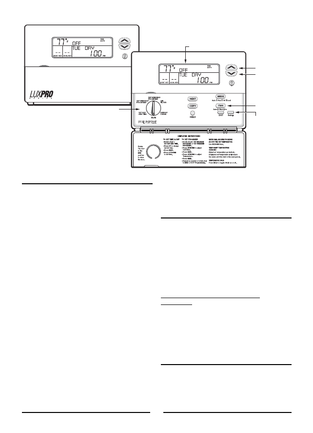 Page 2 of Lux Products Thermostat PSP722E User Guide