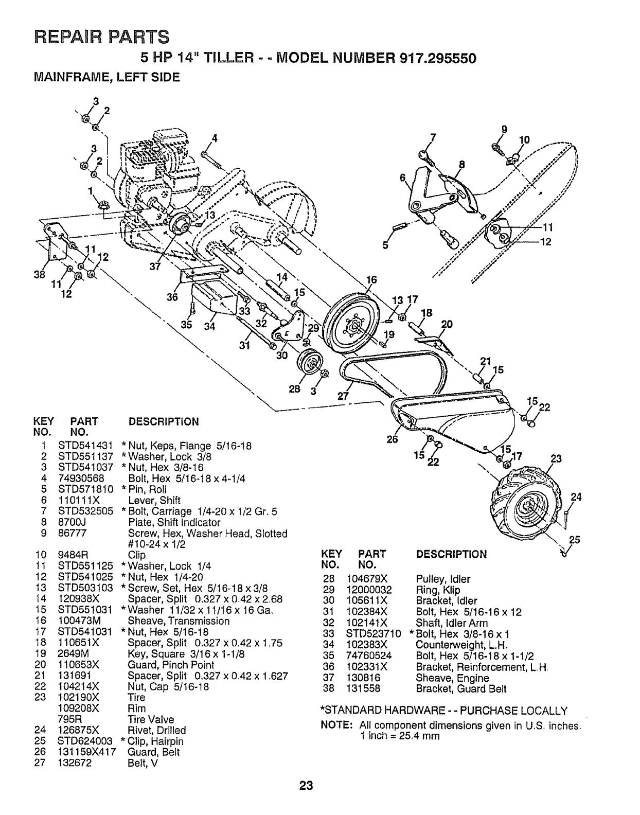 Page 23 of Craftsman Tiller 917.29555 User Guide