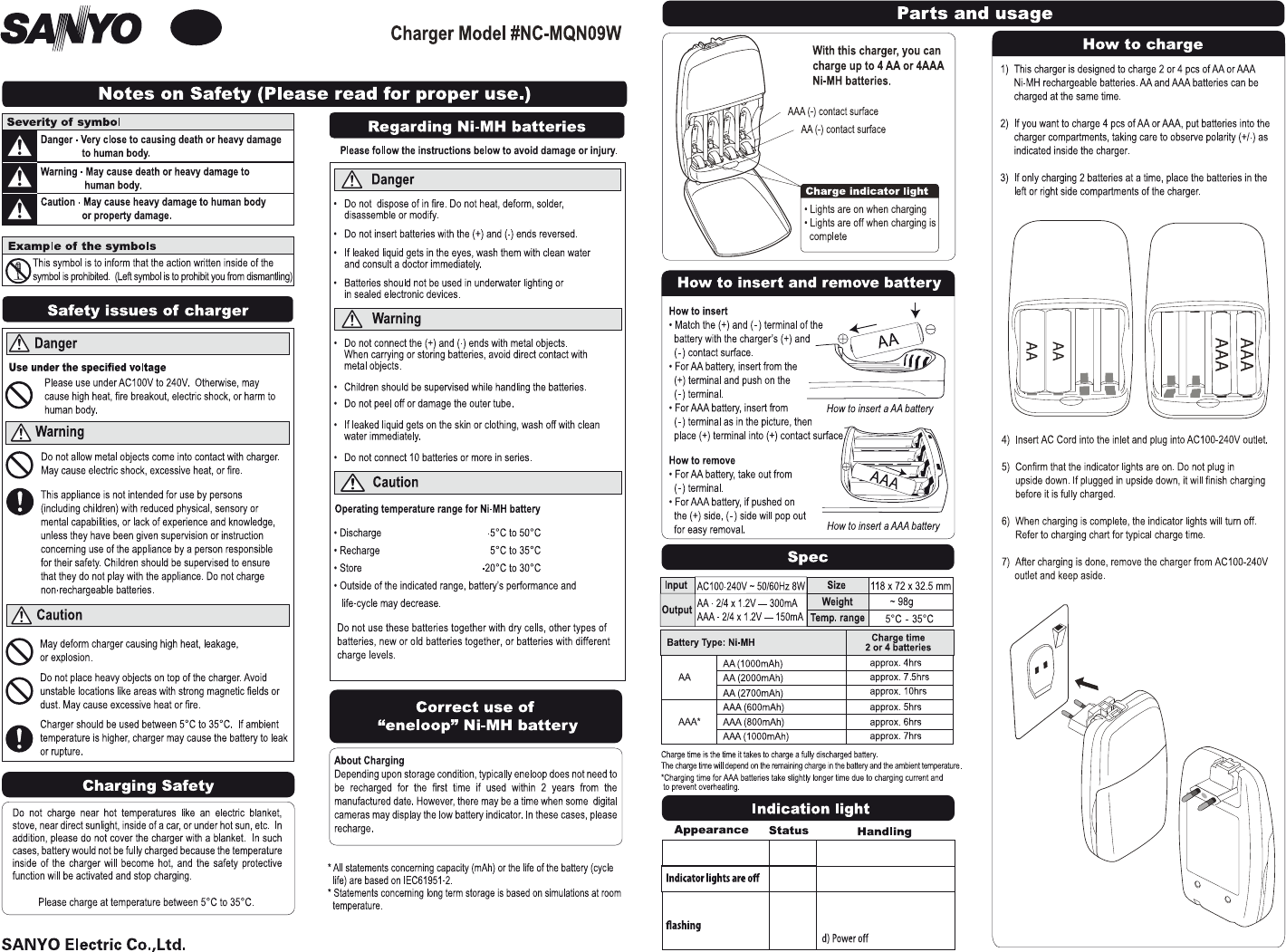 Sanyo Battery Charger #NC-MQN09W User Guide