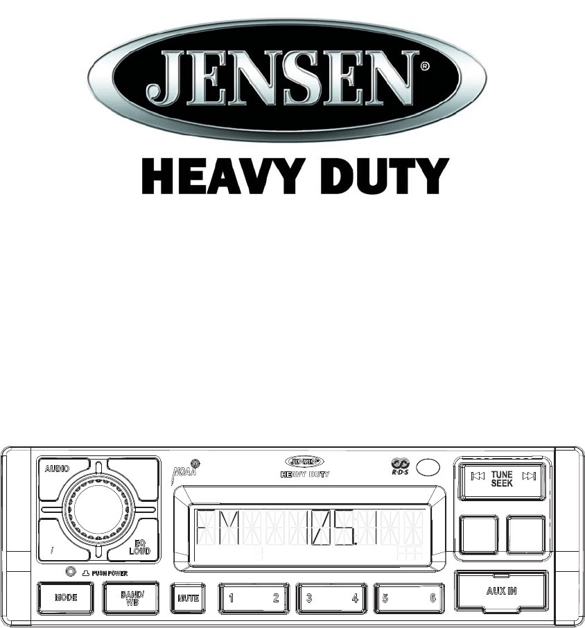 Jensen Car Stereo System JHD1120 User Guide