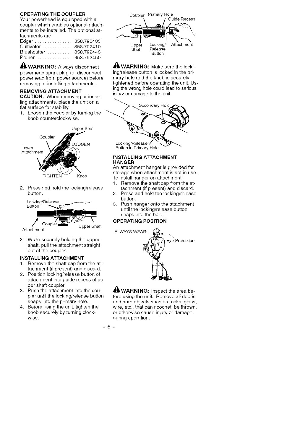 Page 6 of Craftsman Lawn Mower Accessory 358.792421 User