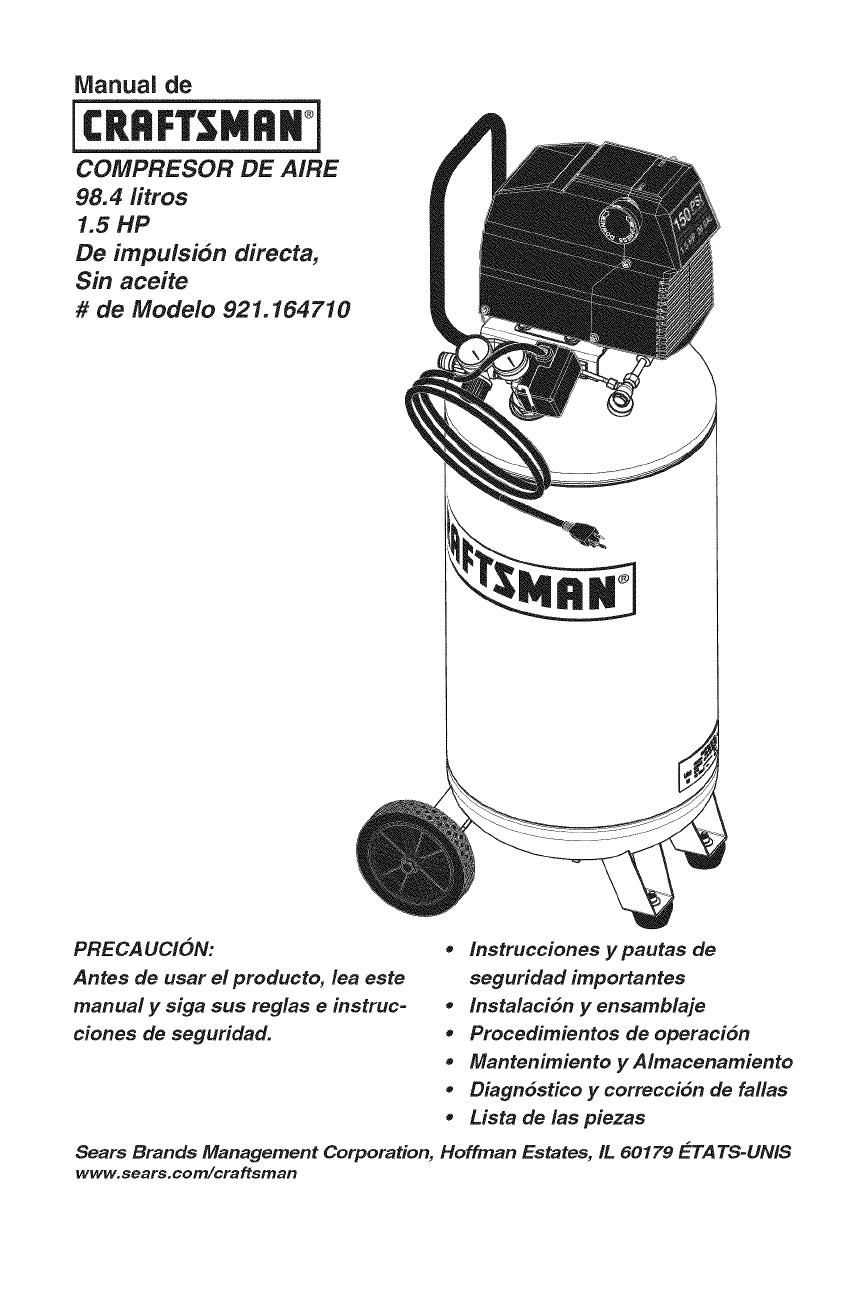 Page 15 of Sears Air Compressor 921.16471 User Guide