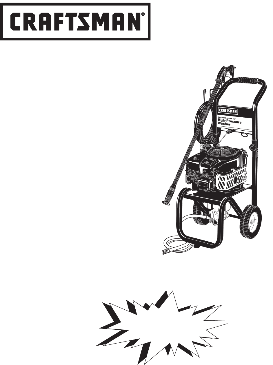 Craftsman Pressure Washer MGP-769010 User Guide
