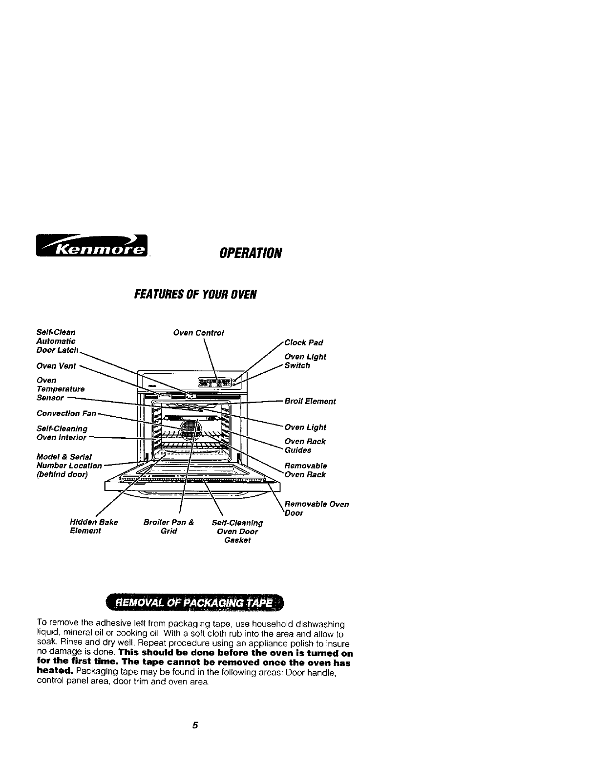 Page 5 of Kenmore Convection Oven 911.41789 User Guide