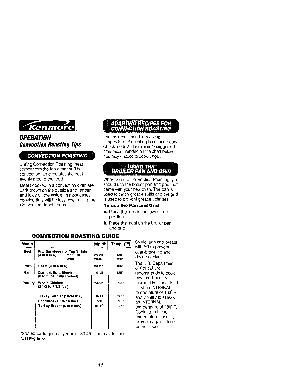 Page 11 of Kenmore Convection Oven 911.41785 User Guide
