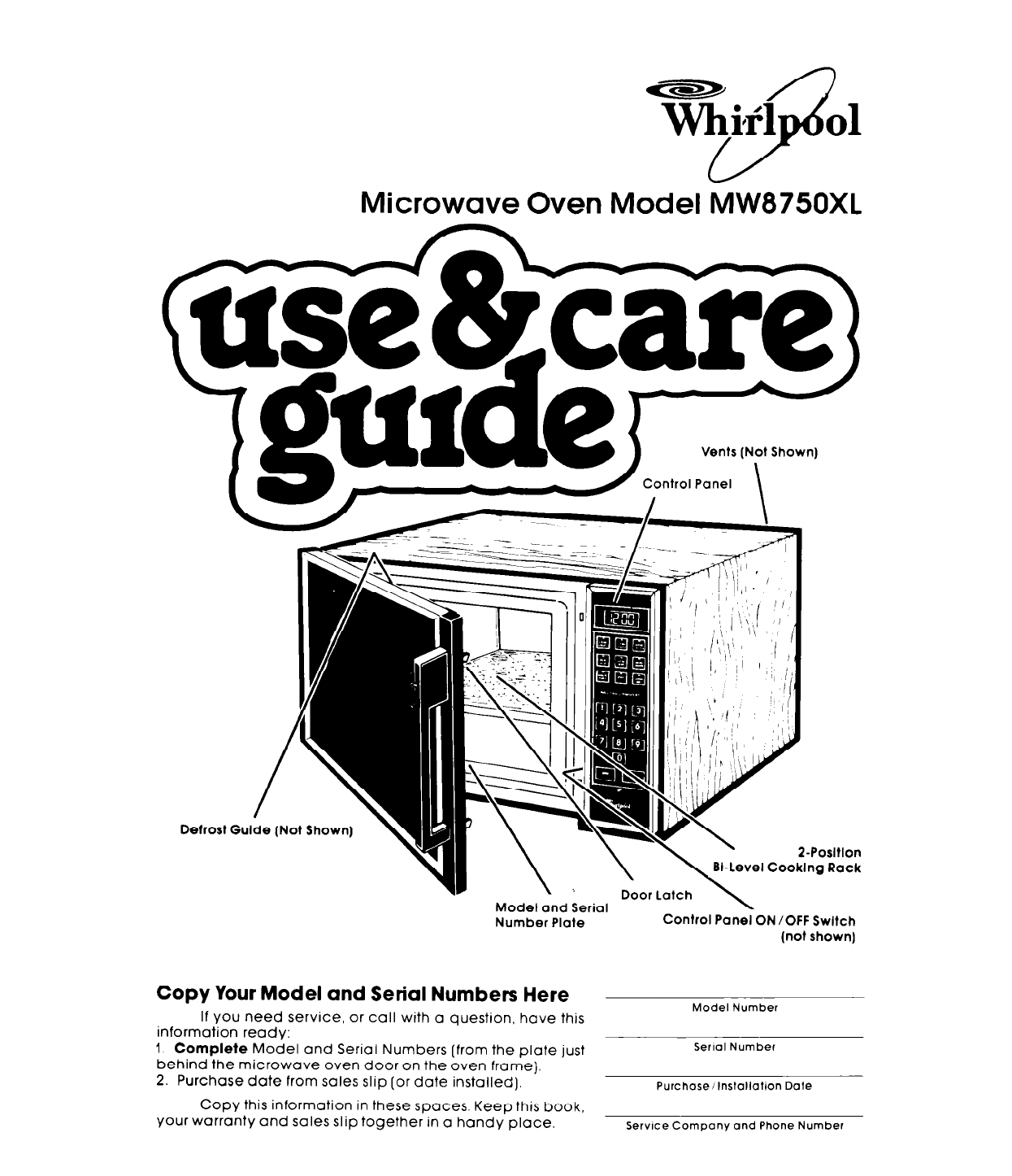 Whirlpool Microwave Oven MW8750XL User Guide