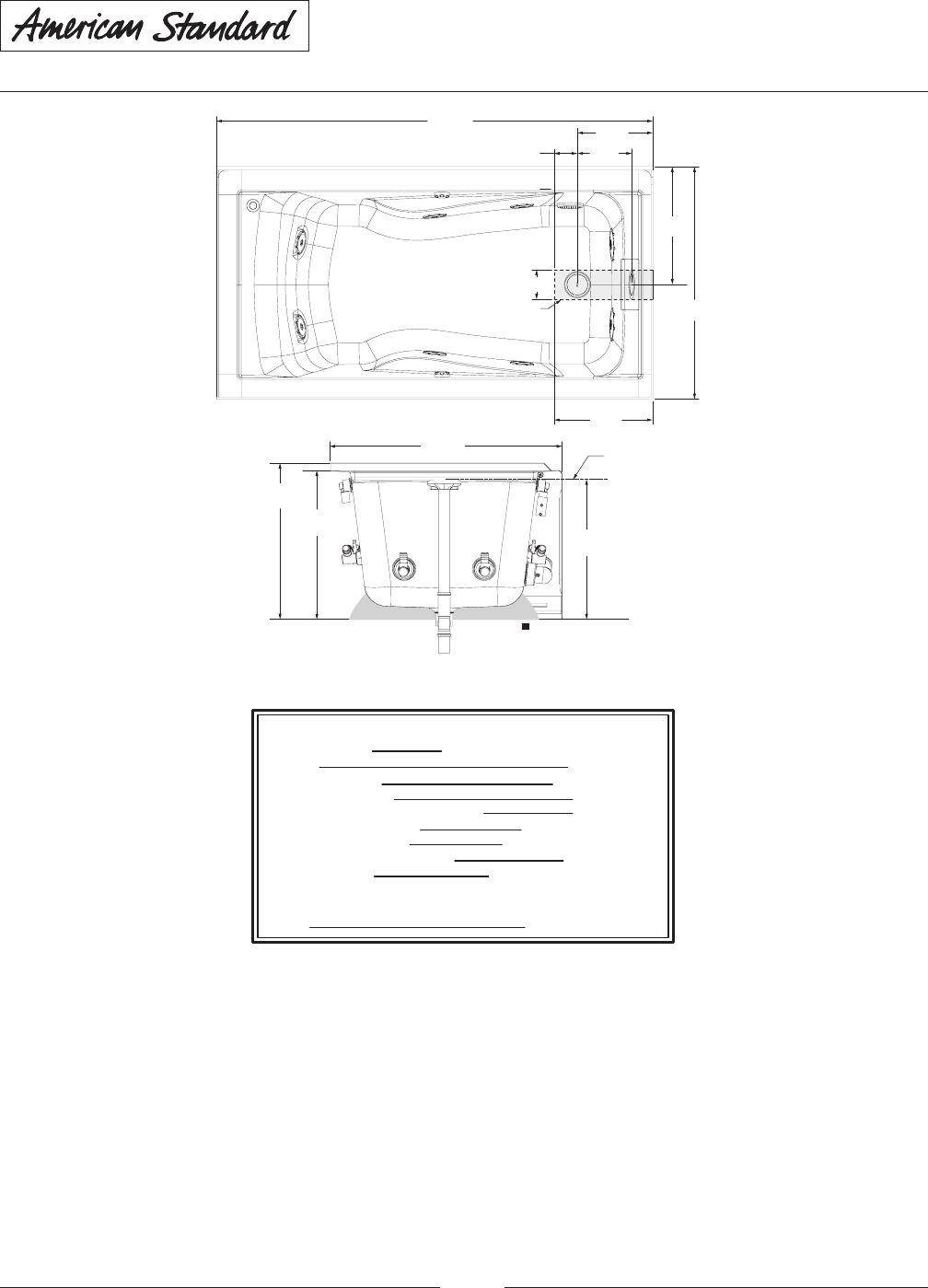 Page 2 of American Standard Hot Tub 2425L-RHO User Guide
