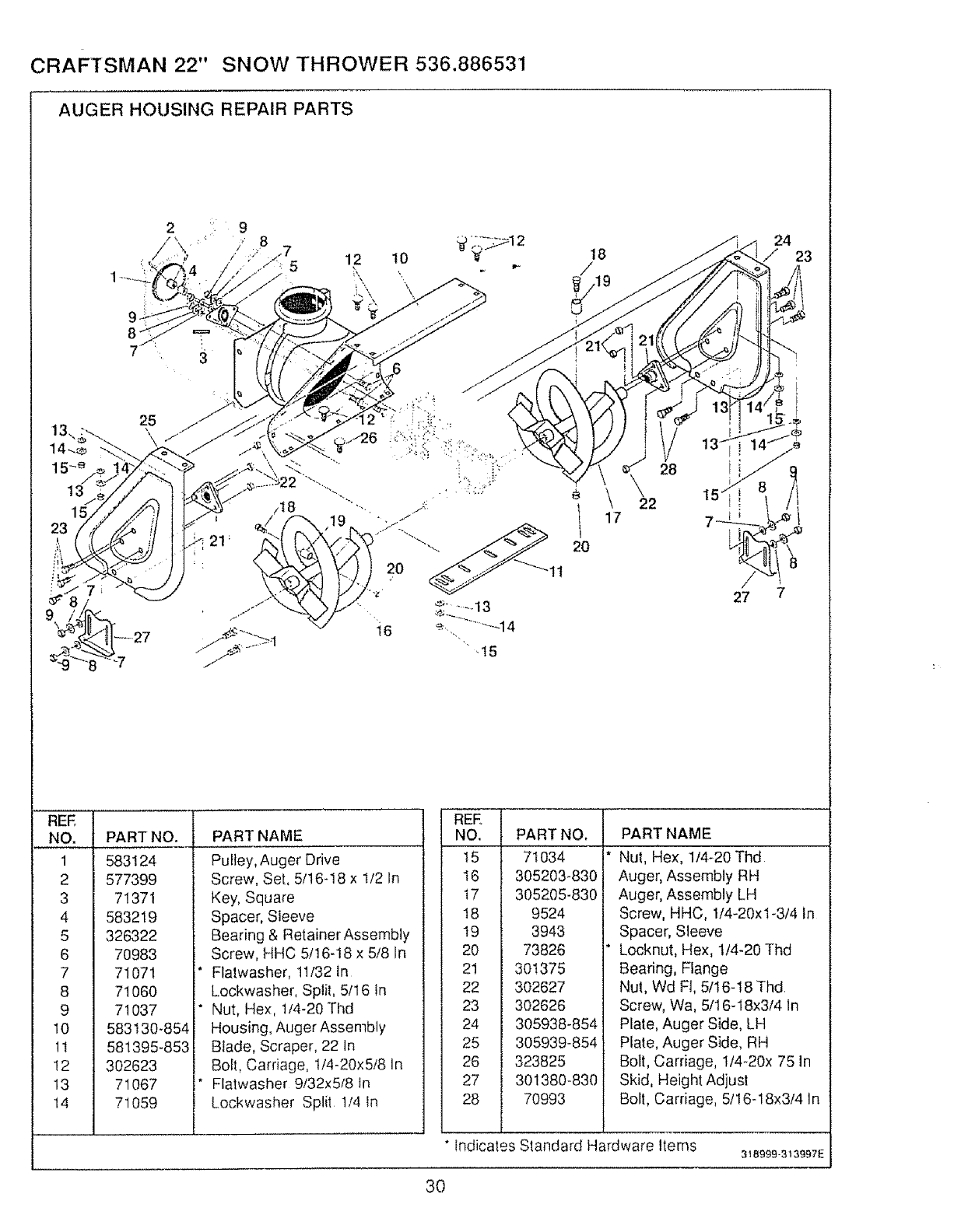 Page 30 of Sears Snow Blower 536.886531 User Guide