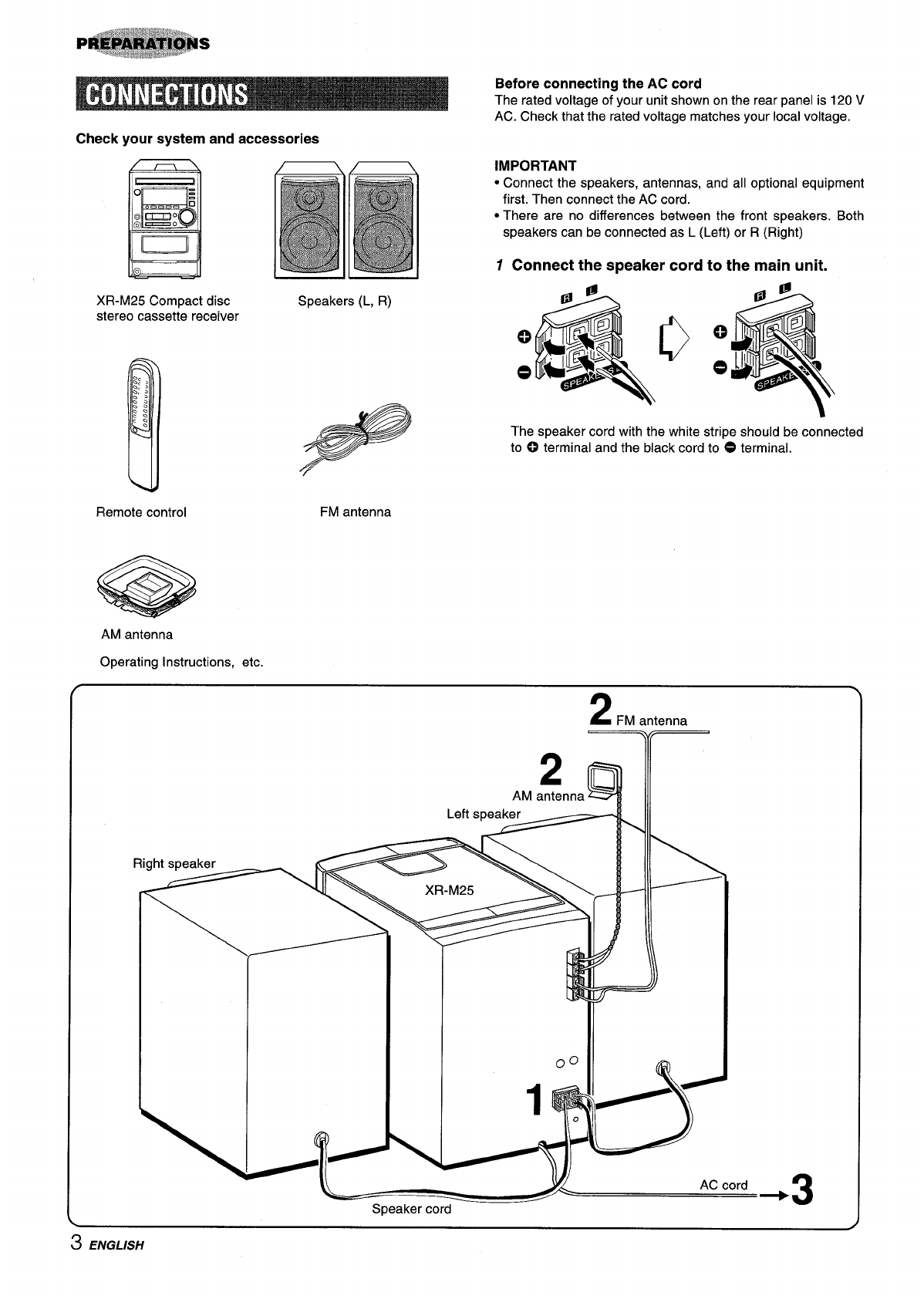 Page 4 of Aiwa Stereo System XM-M25 User Guide