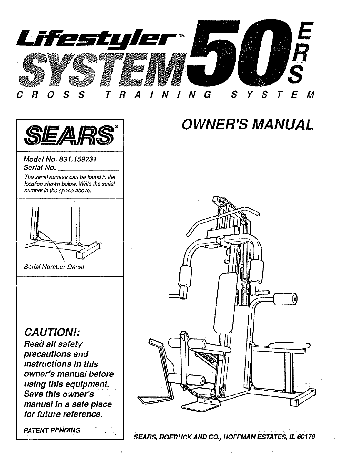 Sears Fitness Equipment 831.159231 User Guide