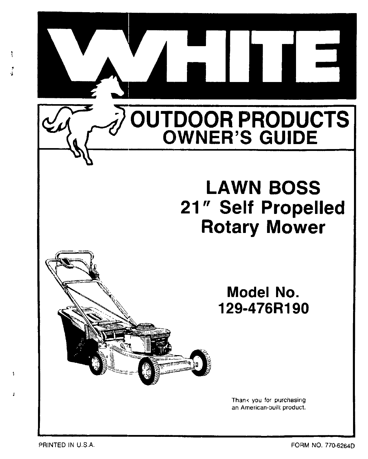 White Outdoor Lawn Mower 129-476R190 User Guide