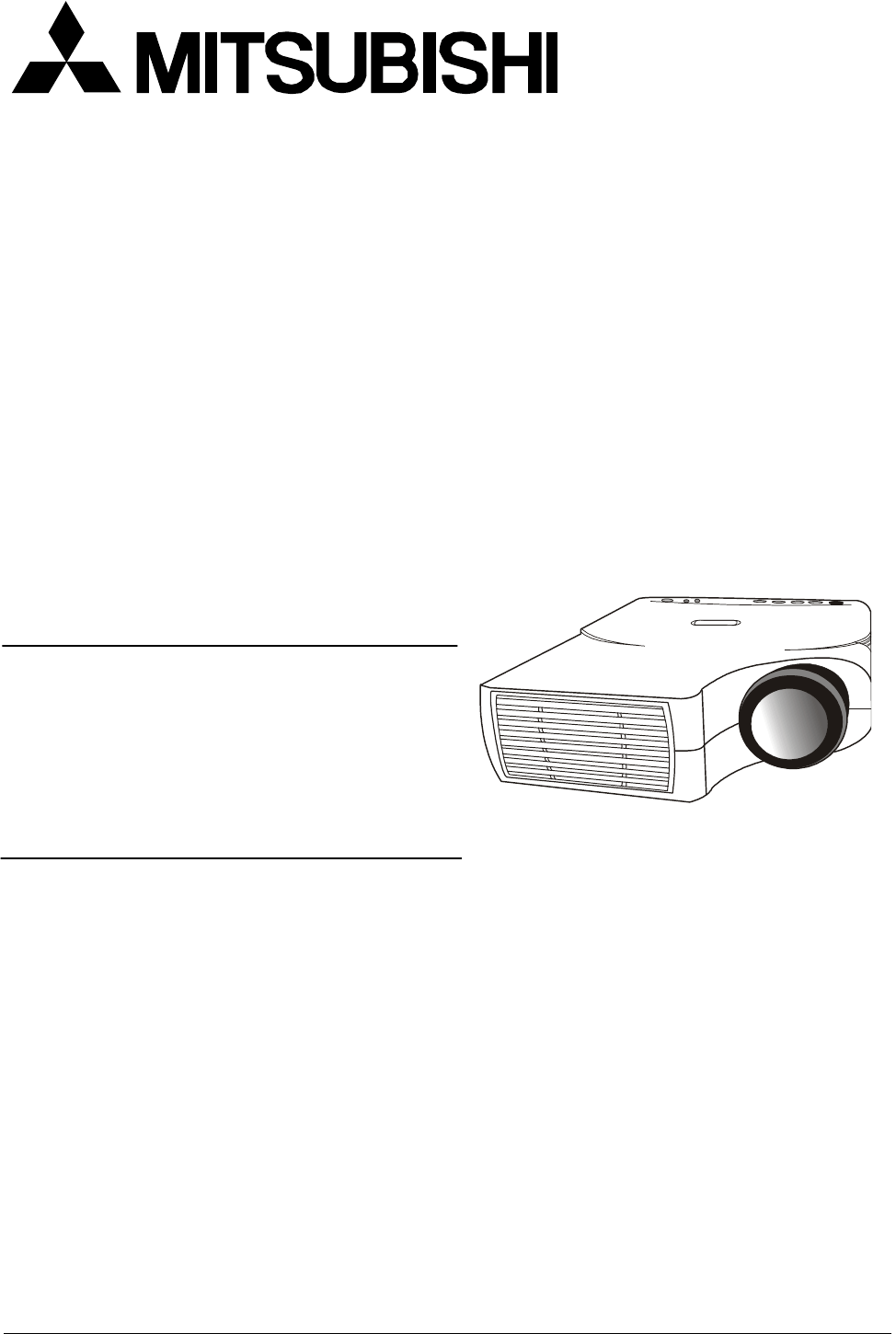 Mitsubishi Electronics Projector LVP-XD10U User Guide