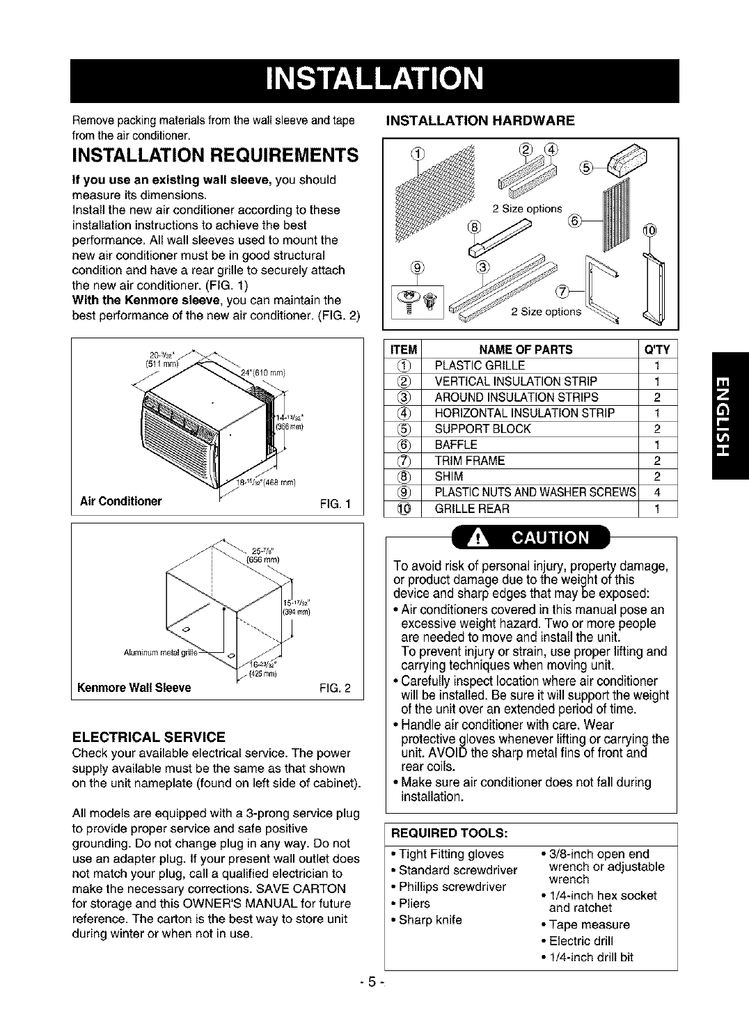 Page 5 of Kenmore Air Conditioner 580.75135 User Guide