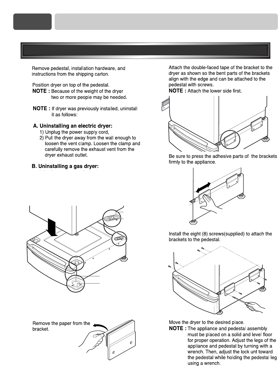 Page 14 of LG Electronics Washer/Dryer DLE0442W User Guide