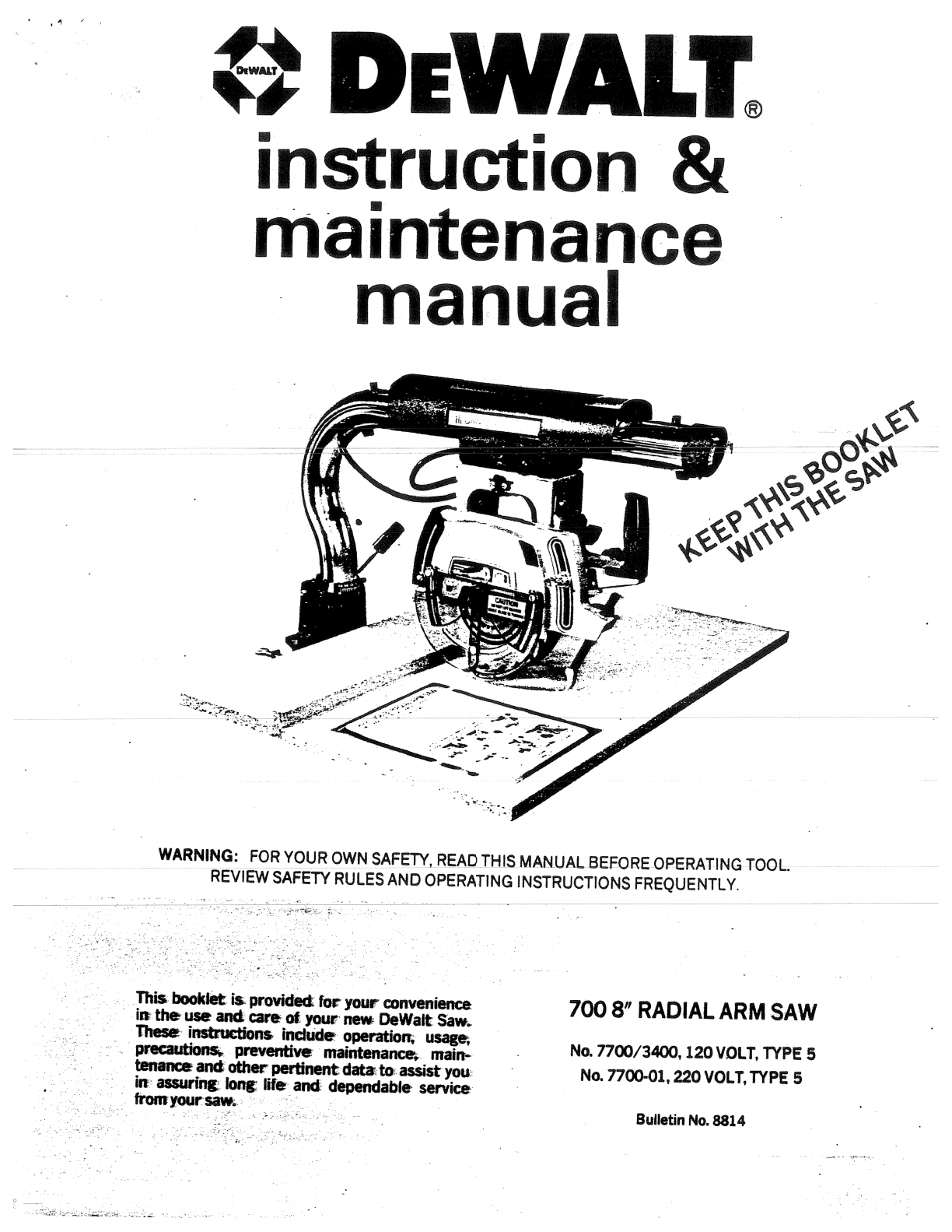 Dewalt Radial Arm Saw Manual Pdf