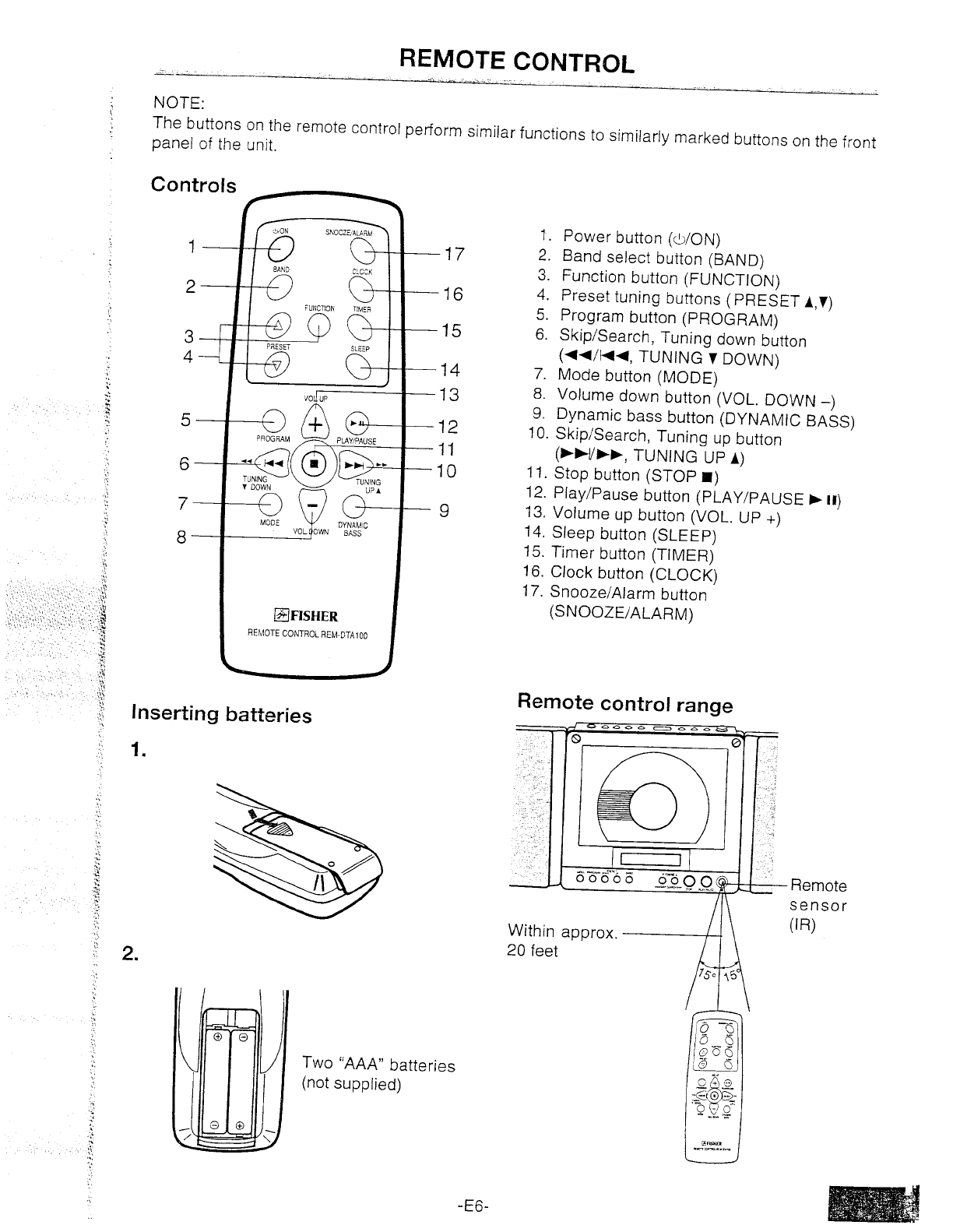 Page 7 of Fisher Stereo System PH-DTA100 User Guide