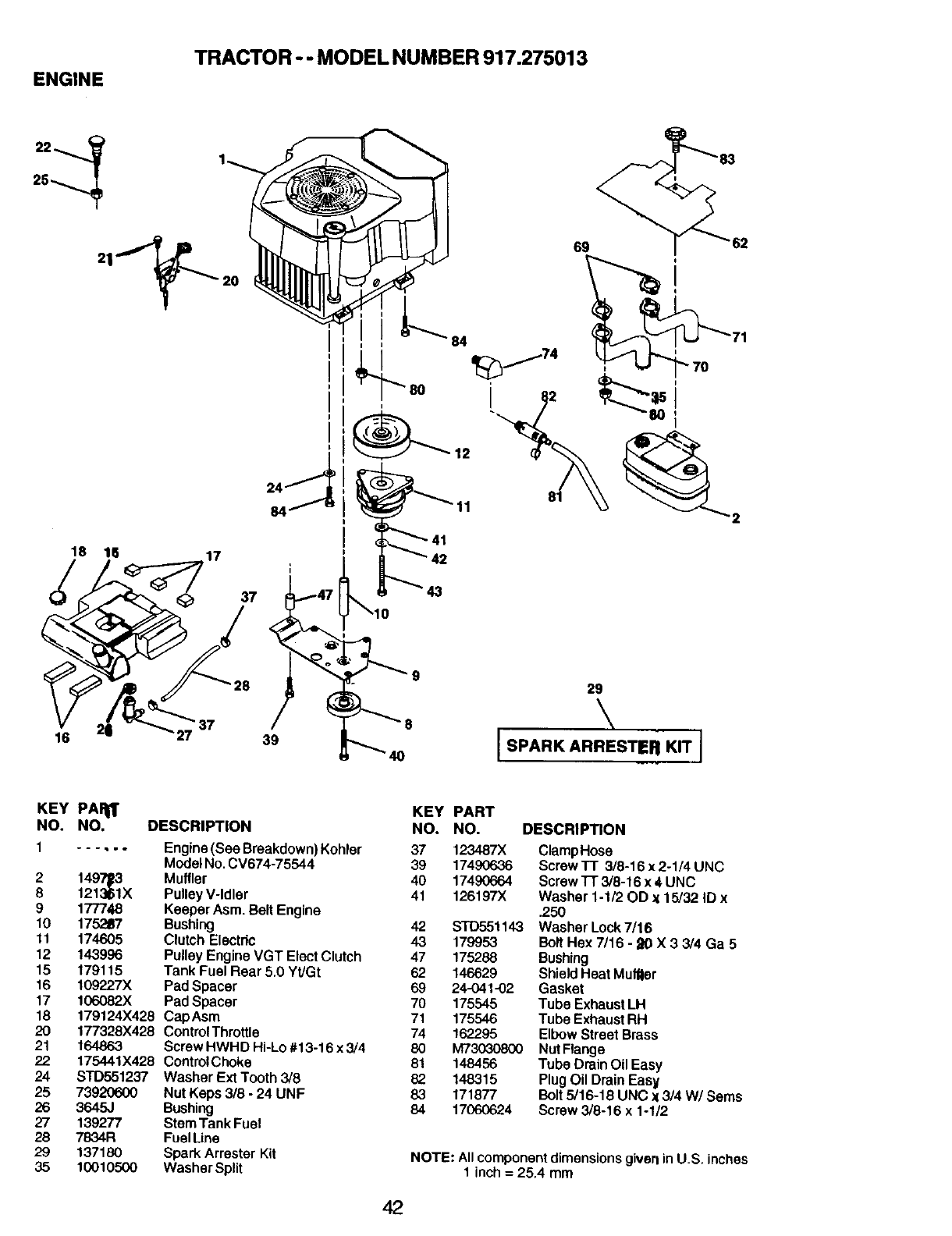 Page 42 of Craftsman Lawn Mower 917.275013 User Guide