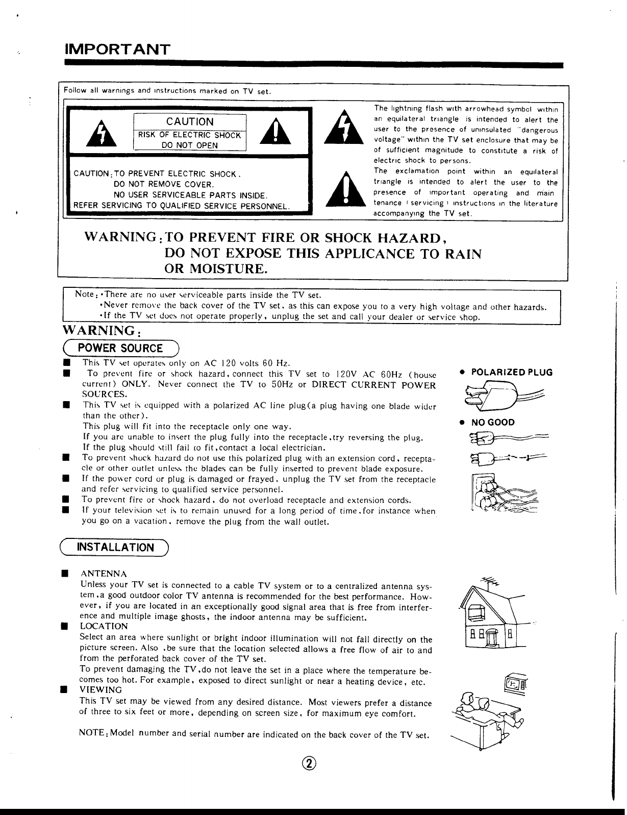 Page 2 of Hitachi CRT Television 13GA1B User Guide