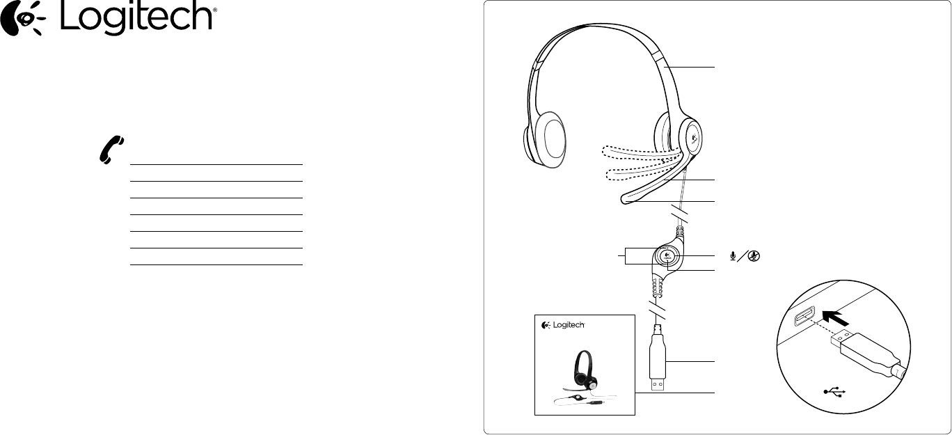 Page 2 of Logitech Corded Headset H390 User Guide