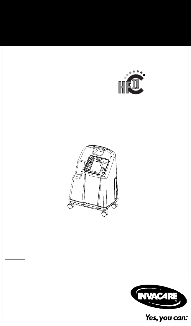Invacare Respiratory Product IRC5LXO2, IRC5LX User Guide