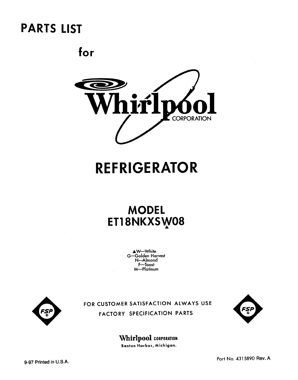 Whirlpool Refrigerator ET18NKXSW08 User Guide