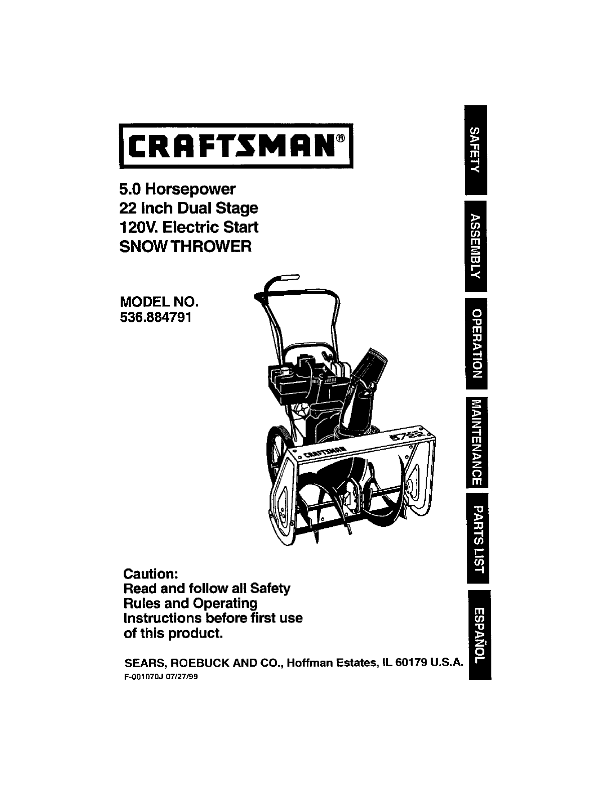 Craftsman Snow Blower 536,884,791 User Guide