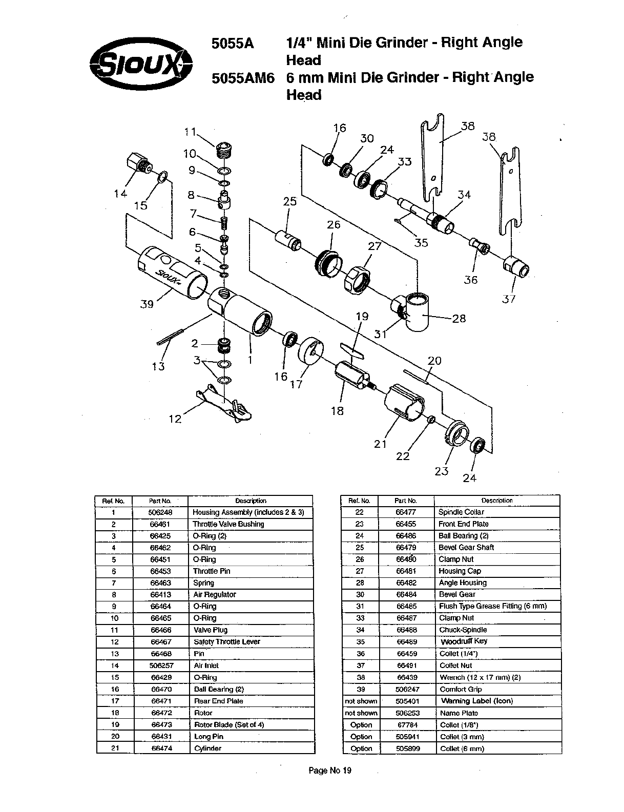 Page 19 of Sioux Tools Grinder 5055A User Guide