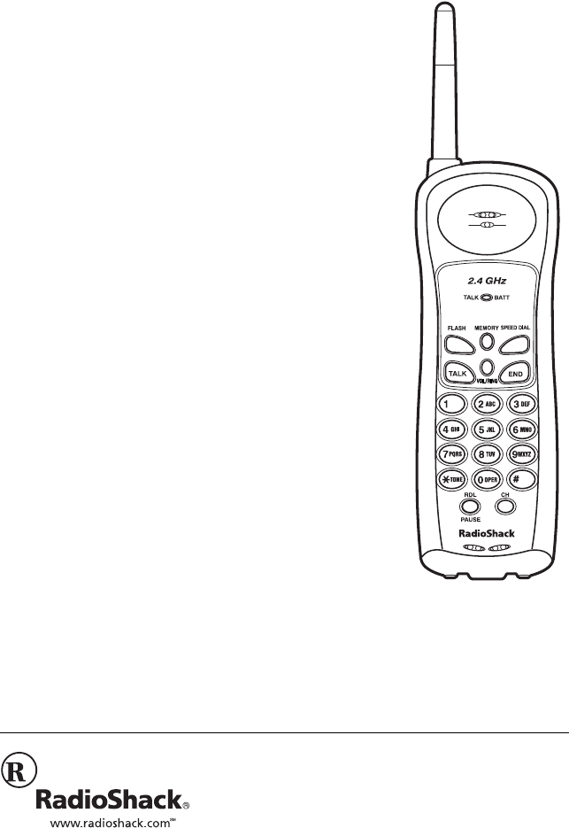 Radio Shack Cordless Telephone 43-3821 User Guide