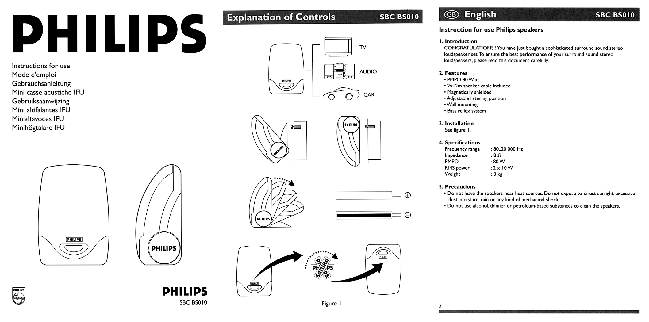 Philips Speaker Sbc Bs010 User Guide