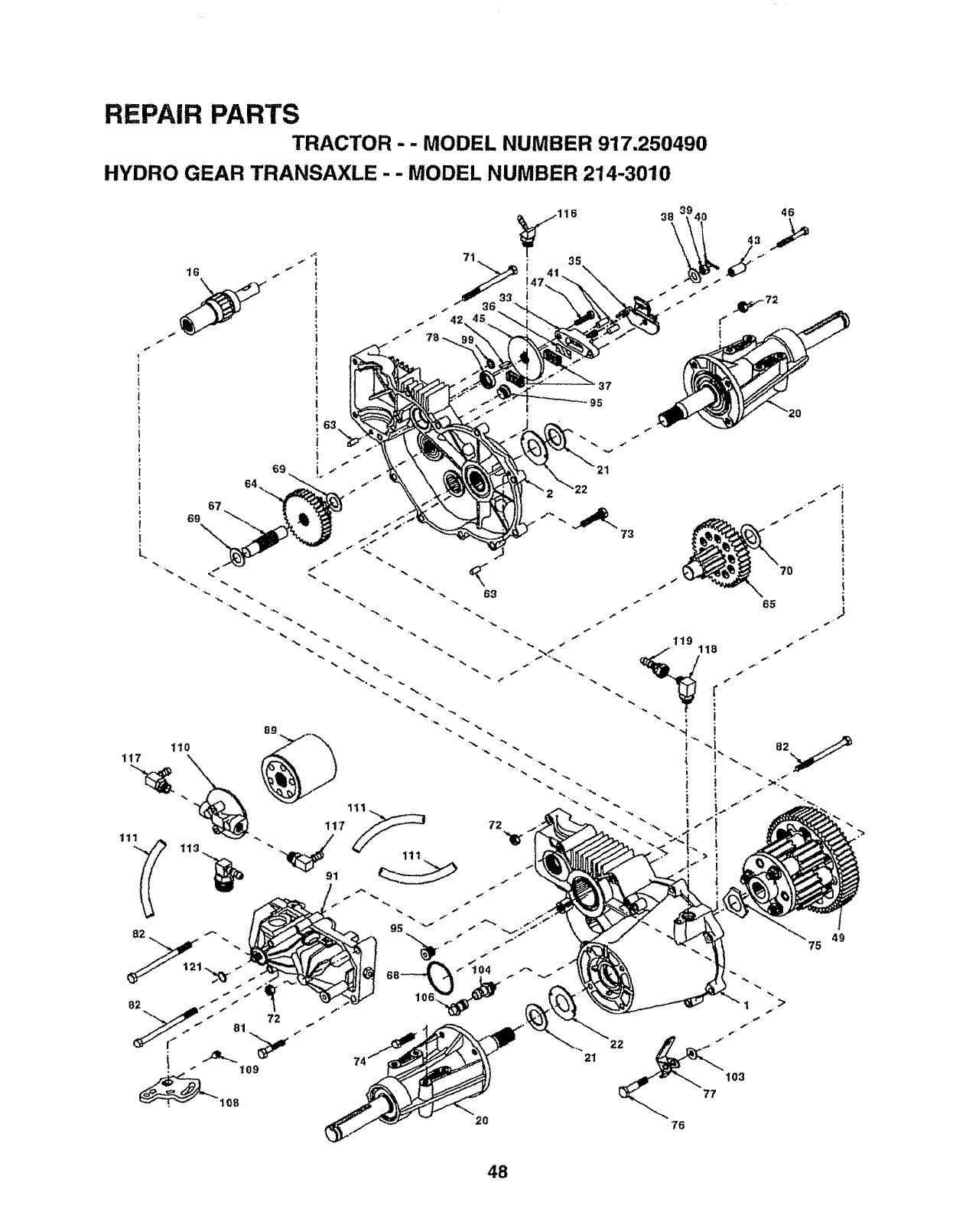 Page 48 of Sears Lawn Mower 917.25049 User Guide