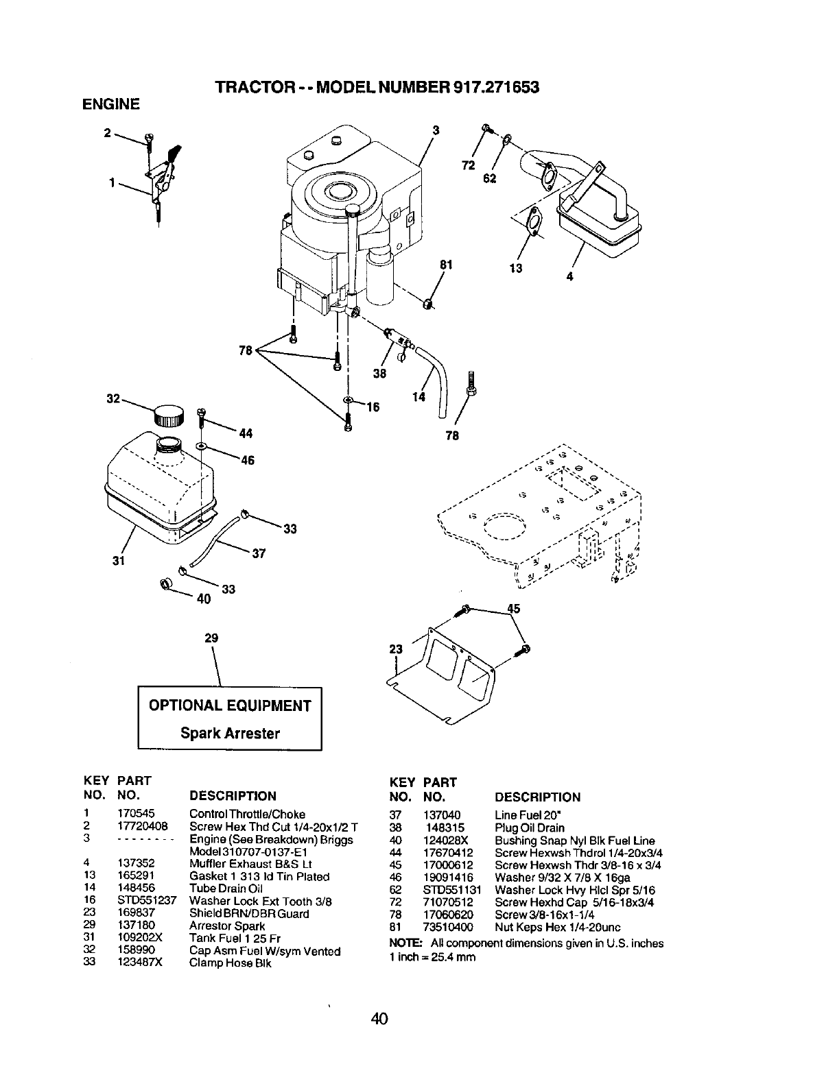 Page 40 of Craftsman Lawn Mower 917.271653 User Guide