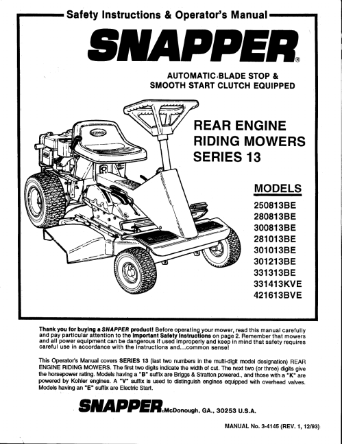 small resolution of snapper lawn mower 301013be user guide manualsonline rh lawnandgarden sr1028 clutch assembly sr120 oil snapper snapper sr 1028 wiring diagram