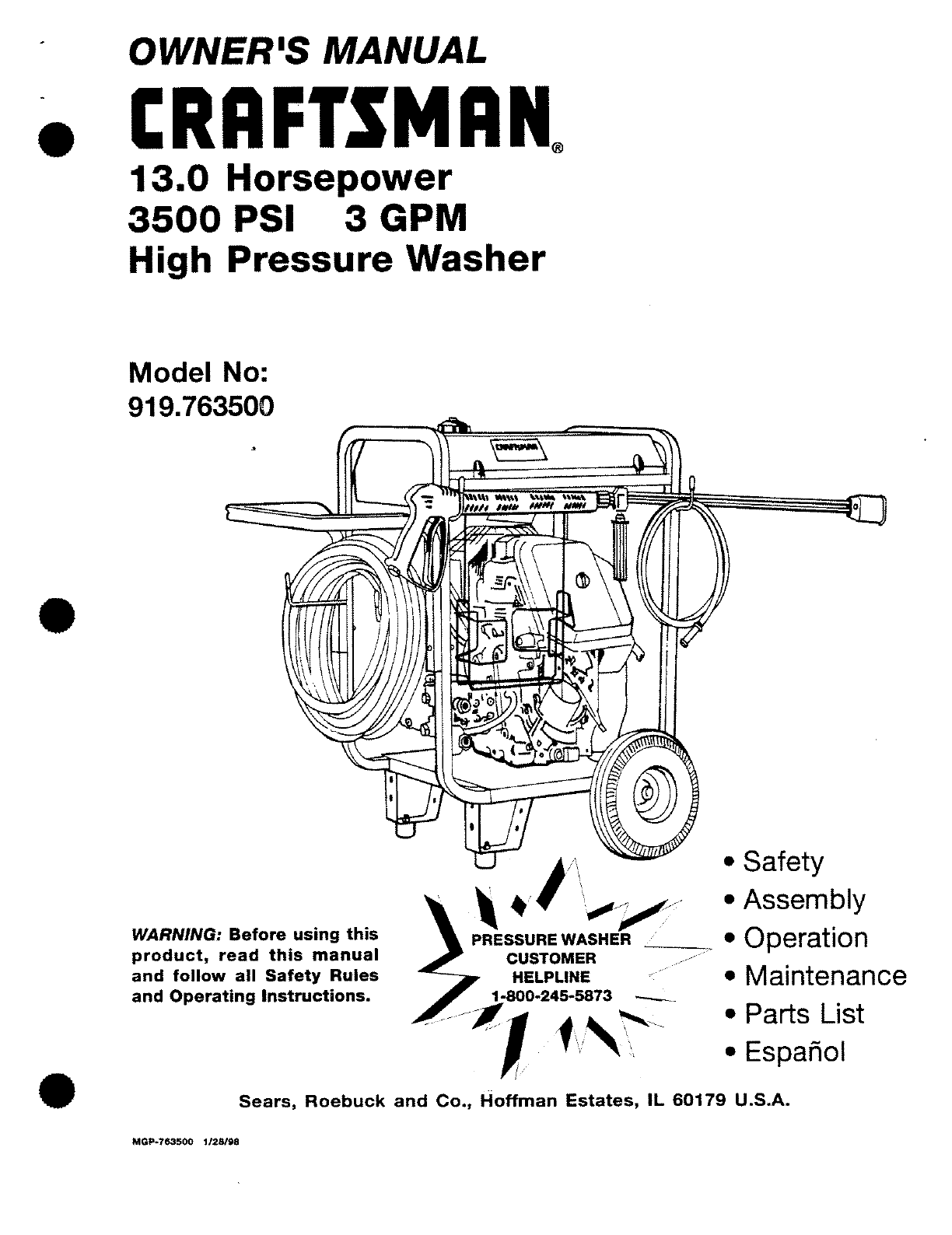 Craftsman Pressure Washer MGP-743500 User Guide