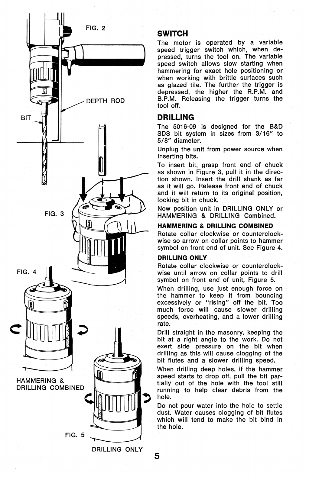 Page 5 of Black & Decker Power Hammer 5016-09 User Guide