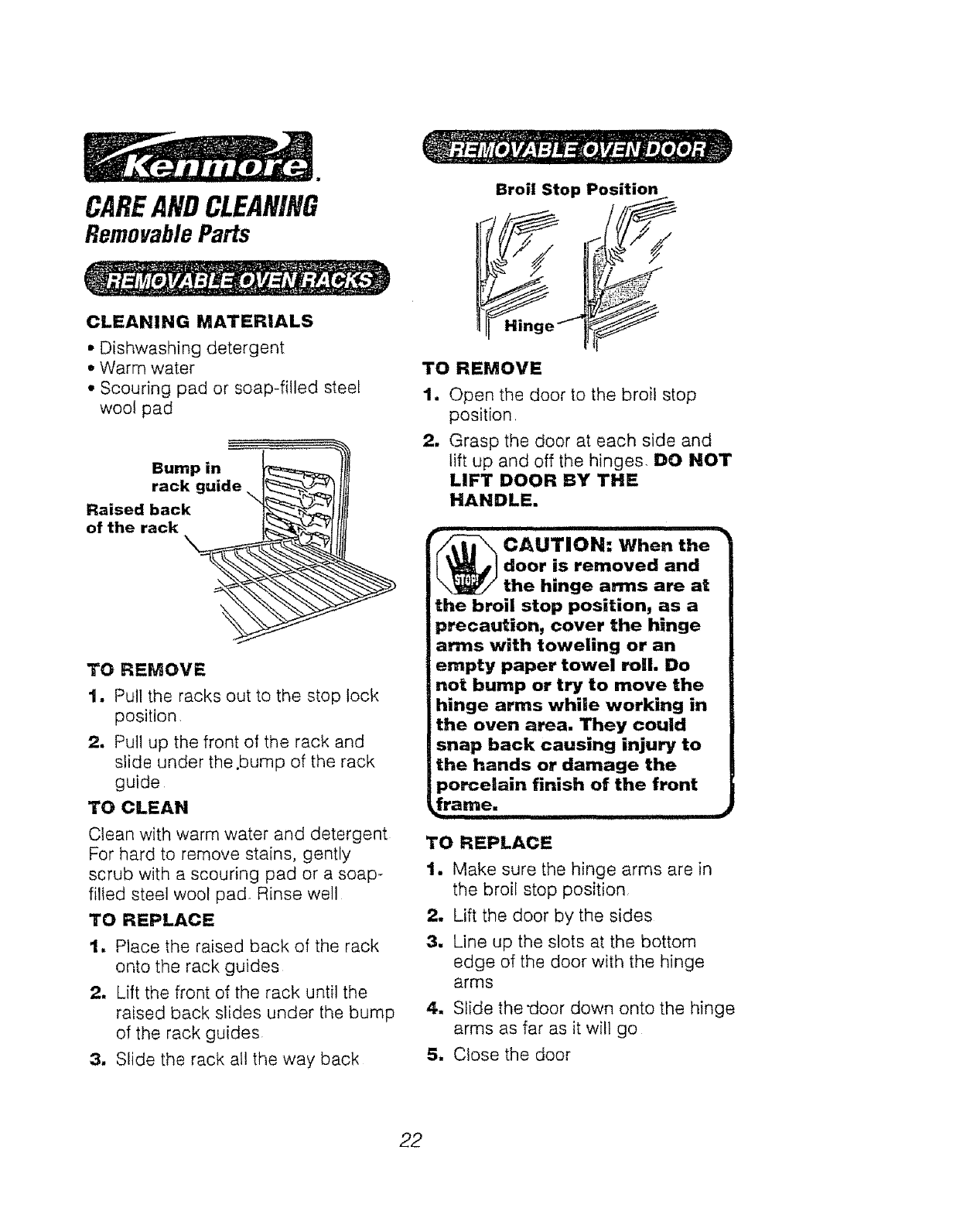 Page 22 of Kenmore Oven 911.94391 User Guide