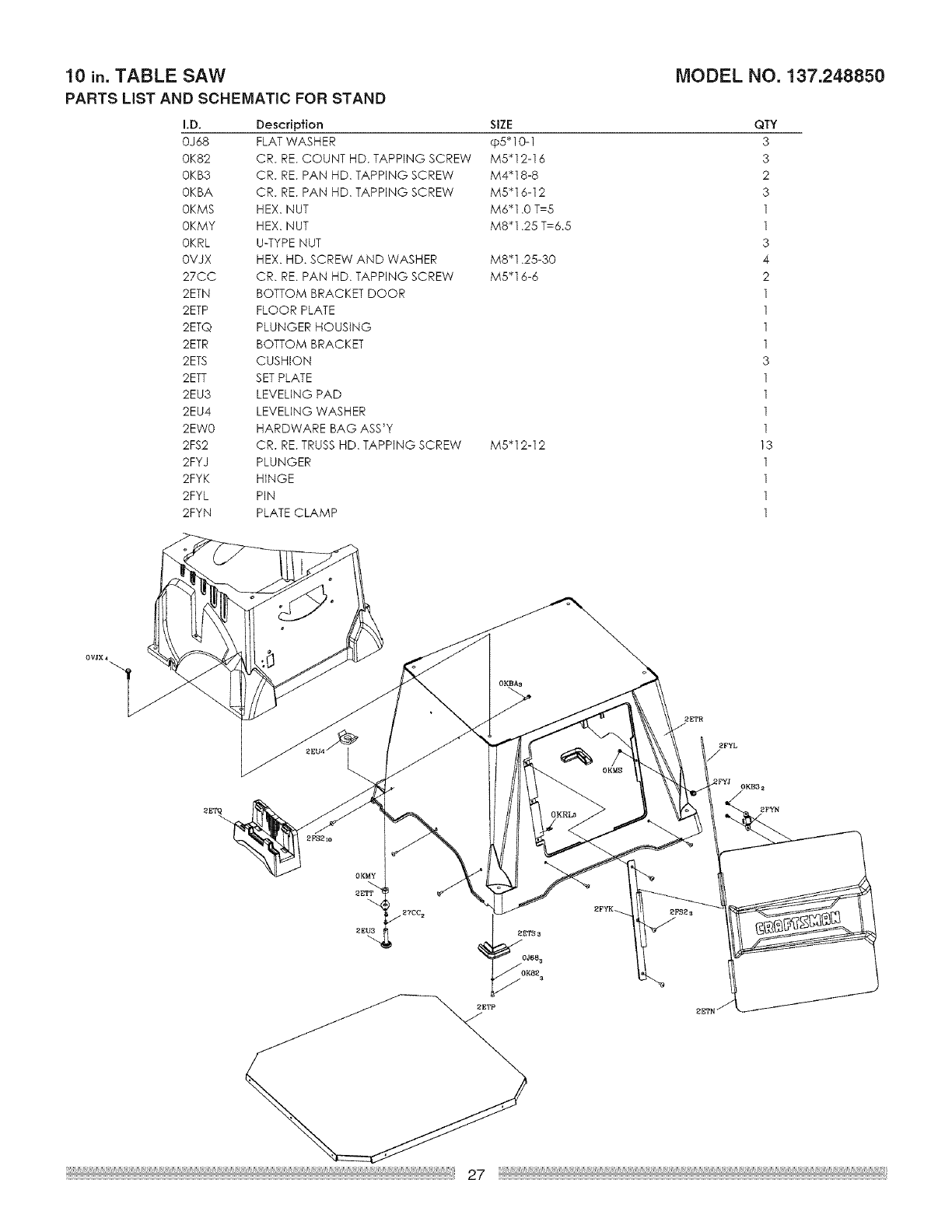 Page 27 of Craftsman Saw 137.24885 User Guide