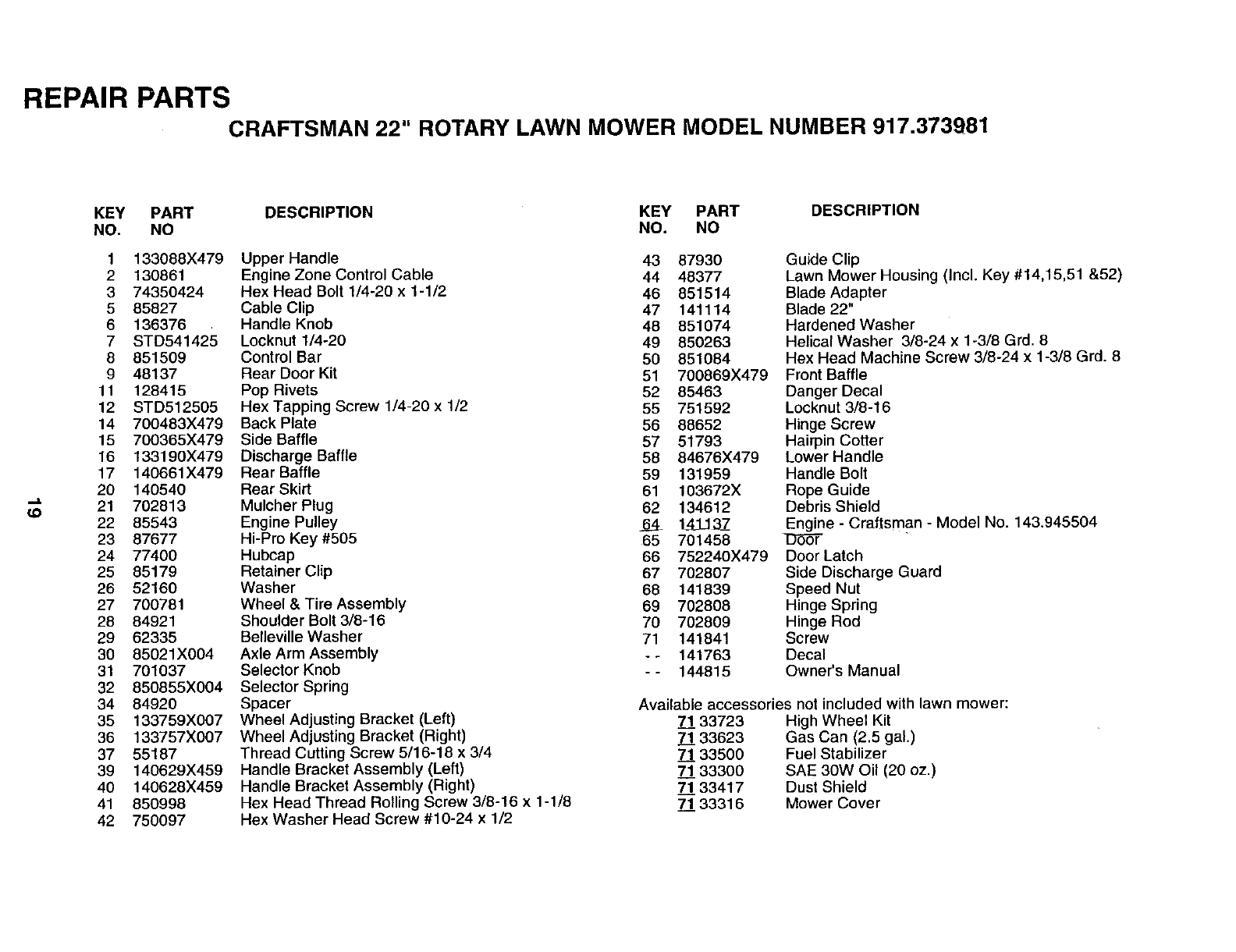 Page 19 of Sears Lawn Mower 917.373981 User Guide