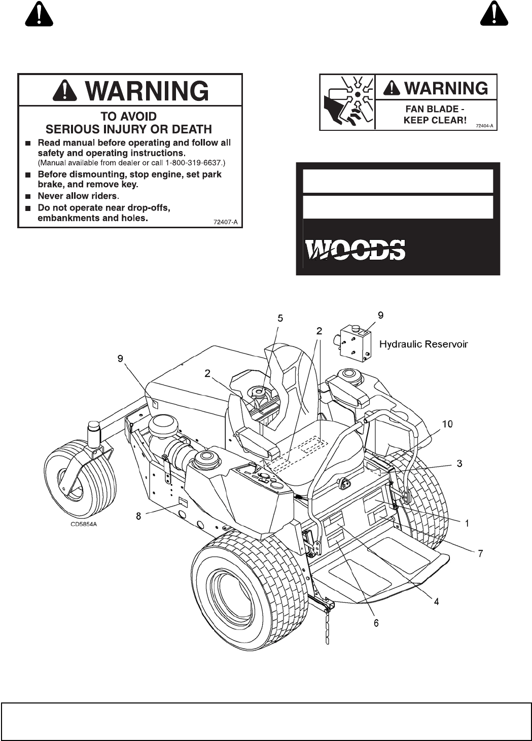 Page 9 of Woods Equipment Lawn Mower FZ25D User Guide