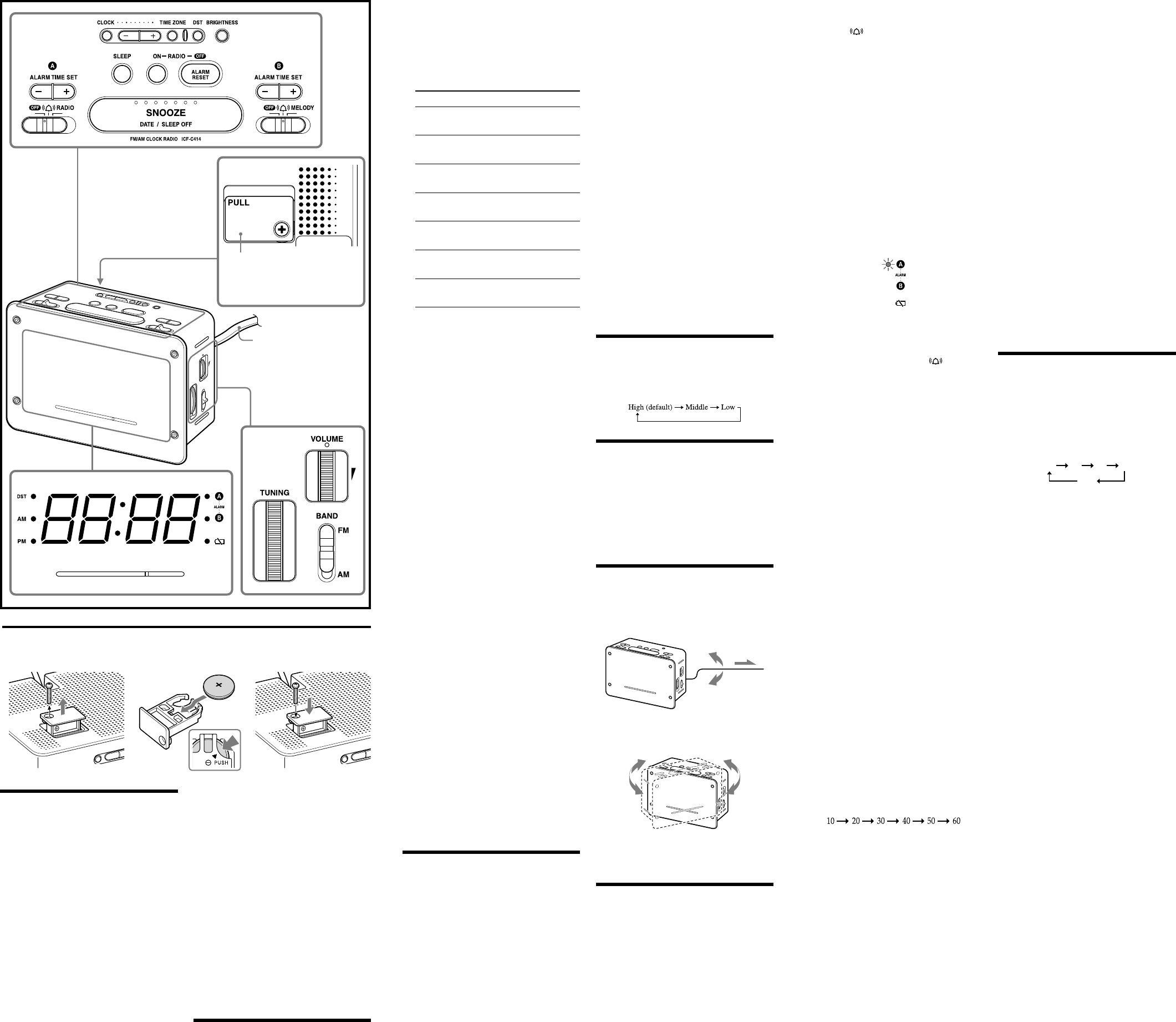 Page 2 of Sony Clock Radio ICF-C414 User Guide