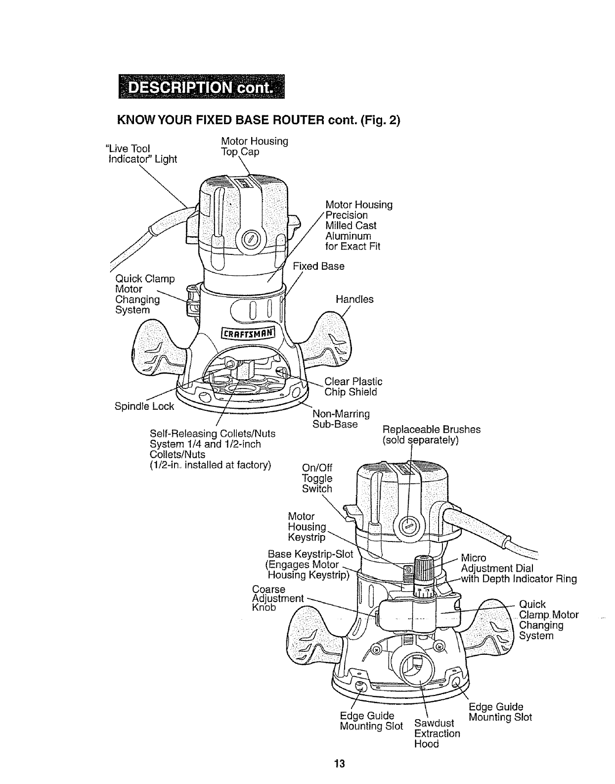 Page 13 of Craftsman Router 320.17541 User Guide