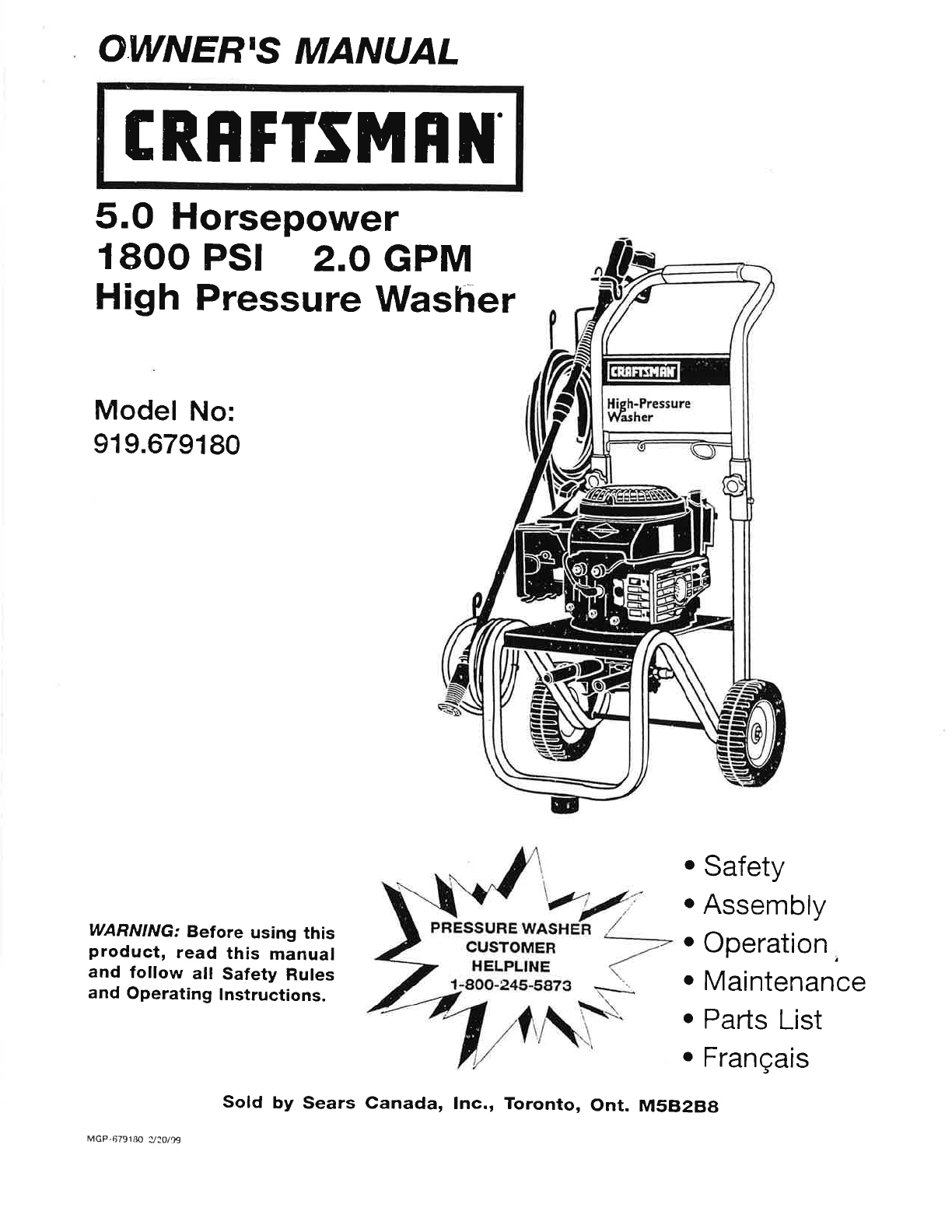 Craftsman Pressure Washer 919.679180 User Guide